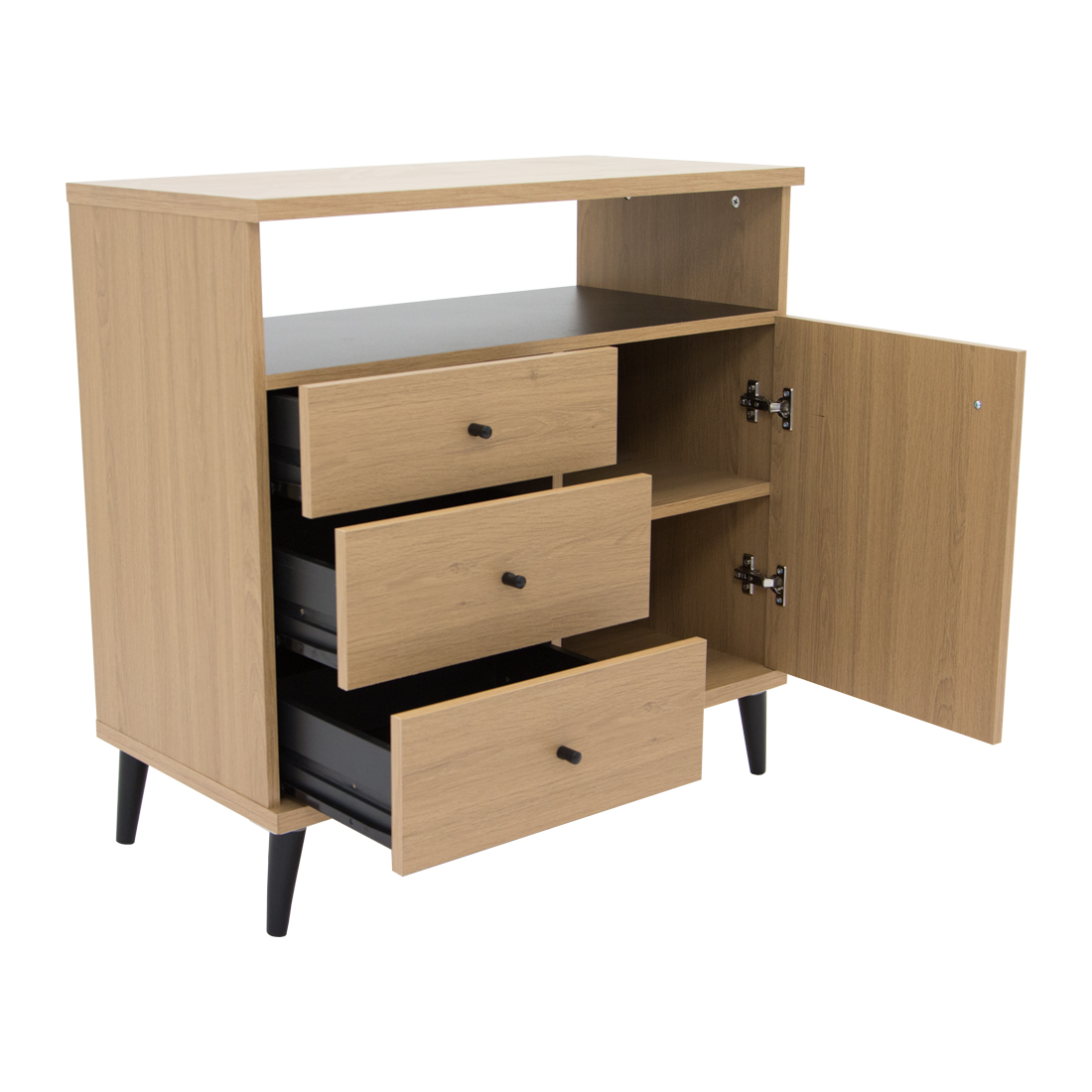 Carnaby_1Door_3Drawer_Sideboard_Right_Open