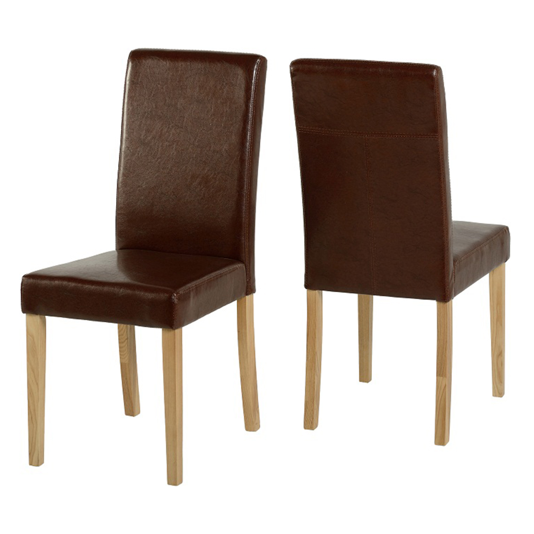 Paris faux leather dining chairs in mid brown devoted2home for Faux leather dining chairs