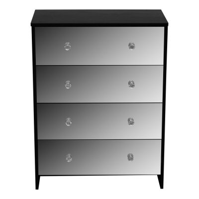 Furniture Mirror Effect Chest of Drawers Black chest of drawers