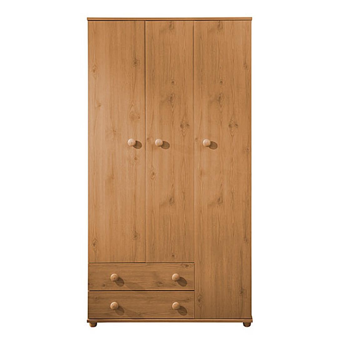Cambridge_Pine_3Door_2Drawer_Wardrobe_Front_Closed