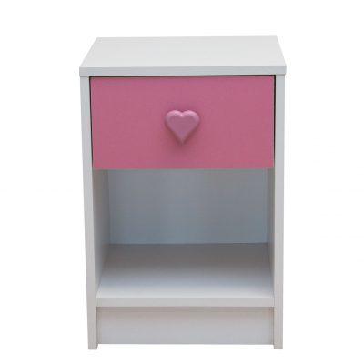 Bedside Cabinet Pink Hearts - Kids Bedroom Set Nursery Furniture